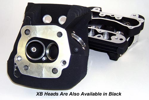 High Performance XB Cylinder Heads for Harley Davidson XL Sportster and Buell Models in Black