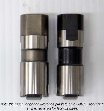 Longer Anti-Rotation Tappet Flats on JIMS Lifters for Harley Davidson Sportster and Buell Models