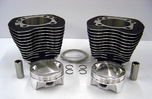A 98 cubic inch bolt-on big bore kit for a Harley Davidson Twin Cam