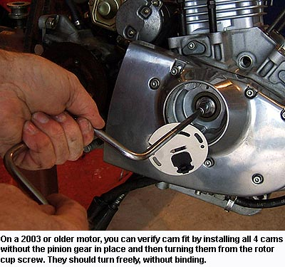 Turning Sportster Cams to verify they don't bind