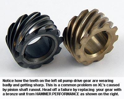 A worn out Sportster oil pump drive gear and a new bronze version